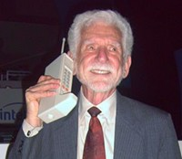 Dr Martin Cooper of Motorola made the first call with a private hand held mobile phone in 1983, Source: Wikipedia Commons, Author: Rico Shen