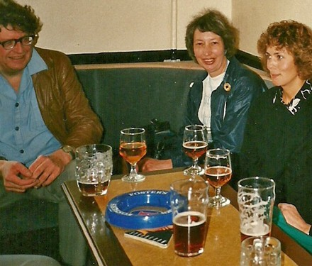 Drinking in the 1980s.  Note the Foster's ashtray on the table.