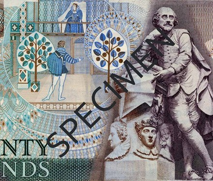 William Shakespeare was the first person, other than a monarch, to appear on a UK banknote