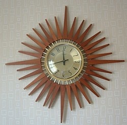 Retro sunburst clock, 1970s