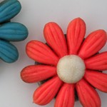 Flower fridge magnets, 1970s