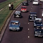 A classic dual carriage way scene from 1963 - Mini, Vauxhall Velox, Ford Classic, Ford Cortina